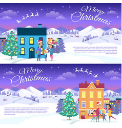 merry christmas on city and blue sky background vector image