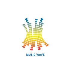 music colorful wave logo modern audio element vector image