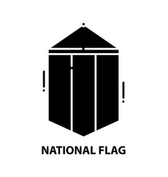 National flag icon black sign vector