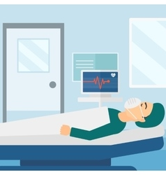 Patient lying in hospital bed with heart monitor vector image
