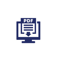 Pdf download icon with computer on white vector