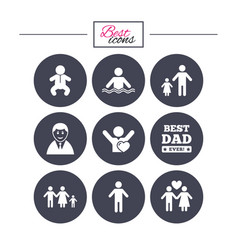 people family icons swimming pool sign vector image