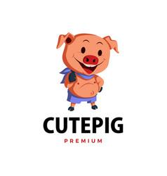 pig thumb up mascot character logo icon vector image