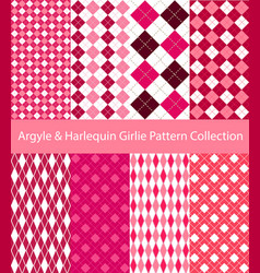 pink argyle and harlequin collection vector image