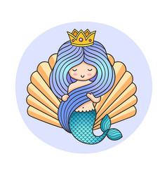 Queen mermaid on a background of a seashell vector