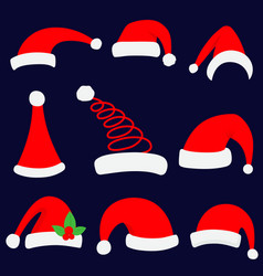 santa christmas hat red santa vector image