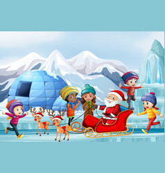 Scene with santa and children on sleigh vector