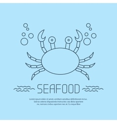 Seafood icon with crab and bubbles vector