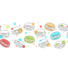 seamless border of delicate contour macaroons vector image