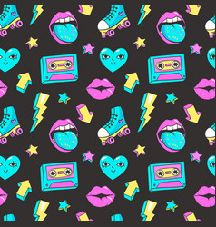 seamless pattern in cartoon 80s-90s comic style vector image