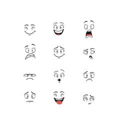 Set cartoon character demonstrating different vector
