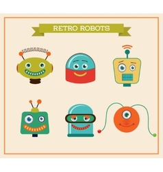 Set of cute retro vintage robots heads vector