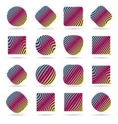 set of labels pattern vector image