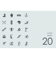 Set of skiing icons vector
