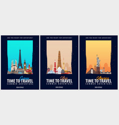 Set of travel posters america europe and asia vector