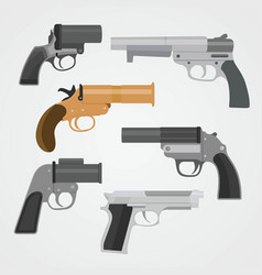 Set pistol weapon collections vector