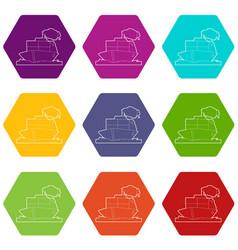 Ship icons set 9 vector