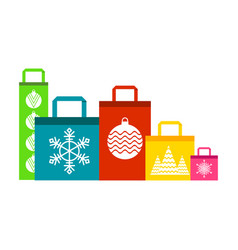 shopping bags color set vector image vector image