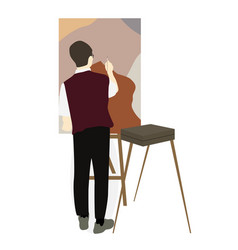 silhouette of drawing artist on an easel vector image
