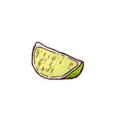 Sketch cartoon juicy slice ripe lemon vector