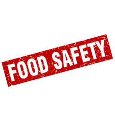 Square grunge red food safety stamp vector