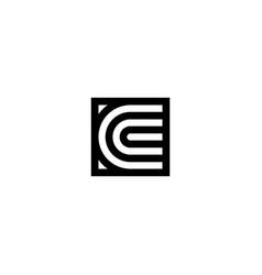 square stripes logo letter c vector image