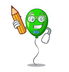 Student green baloon on left corner mascot vector