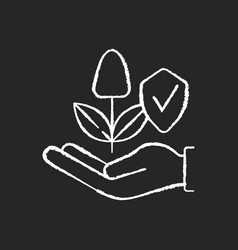 Sustainable agriculture chalk white icon on black vector