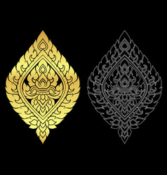 Thai art style ornament gold color and out line vector