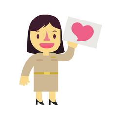 Thai cartoon character design of government woman vector