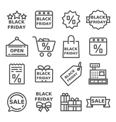 thin line black friday icons set vector image