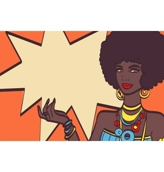 THIS pop art face Wonderful sexy african woman vector image vector image