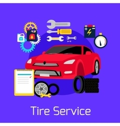 Tire Service Automobile Flat Concept vector