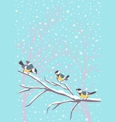 titmouse sitting on snowy branch winter birds vector image
