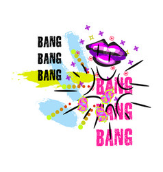 Tshirt pop art neon colors lips splash design vector