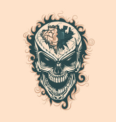 Vintage skull with electronics in mind monochrome vector