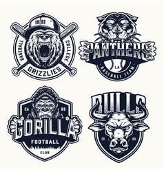 Vintage sport teams emblems set vector