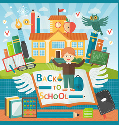Welcome back to school cute school kid template vector
