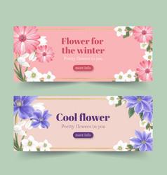Winter bloom banner design with gerbera vector