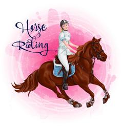 Woman horseback riding equestrian sport vector
