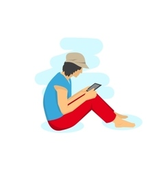 Woman sitting with tablet vector image