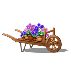 wooden cart with potted flowers isolated on white vector image