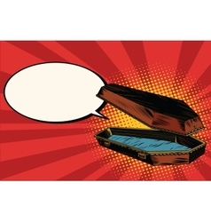 Wooden coffin says comic bubble vector image