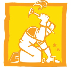 Workman with Hammer vector