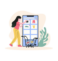 young girl shopping from online vector image