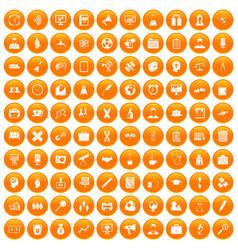 100 seminar icons set orange vector