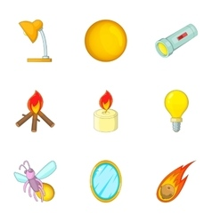 Glowing objects icons set cartoon style vector