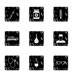 Medicine icons set grunge style vector image vector image
