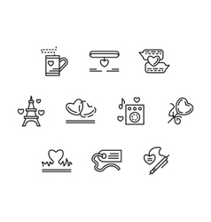Simple line love relationship icons vector image
