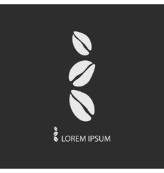 Three white coffee beans as logo on dark grey vector image vector image